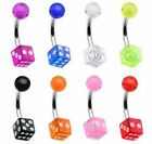 Surgical Steel Uv Dice Navel Belly Bar 14GA (1.6MM ) Bar Size From 6mm to 16mm