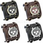 Mens Military Army Style Wide Leather Band Sports Big Face Quartz Wrist Watch image
