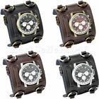 Mens Military Army Style Wide Leather Band Sports Quartz Cool Wrist Watch Gift image