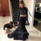 Sexy Open Back Beaded Two Piece Prom Dress 2016 High Neck Mermaid Evening Dress