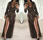 Women Sexy Leopard Print Slit Bodycon Long Sleeve Maxi Cocktail Party Club Dress