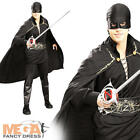 Zorro Mens Fancy Dress Spanish Bandit Hero Movie Film Adults Costume Outfit New