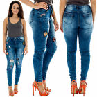 New Ladies High Waist Badge Faded Ripped Crinkle Skinny Denim Jeans Size 6 to 16