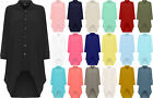 Womens Plus Batwing Shirt Dress Long Sleeve Dip Hem Hi Lo Button Collar Ladies