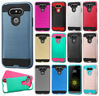 For LG G5 Premium Brushed Metal HYBRID Rubber Case Snap Phone Cover Accessory