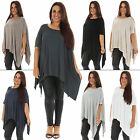 New Ladies Stylish Italian Lagenlook Asymmetrical Baggy Top Size 12 14 16 18
