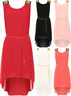 Womens Plus Diamante Dip Hem Party Dress Chiffon Lined Sleeveless Belt New 12-18