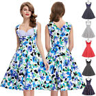 Retro Vintage 1950s Floral Pattern V-Neck Cotton Party Dress Pinup Swing Evening