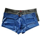Sexy Men's Hollowed Front Faux Leather Underwear Boxer Briefs Underpants Shorts