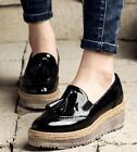 Hot College Fashion Brogues Womens Platform Wedge Mid Heels Slip On Oxford Shoes