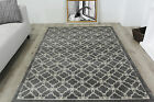 New Contemporary Trellis Silver Grey Rugs Soft Small Large Modern Runner Rugs