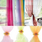 Room Floral Tulle Voile Door Window Curtain Drape Panel Sheer Scarf Valances