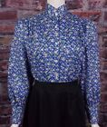 FRONTIER CLASSICS Victorian Royal Blue Print Prairie Blouse Dickens Cowgirl