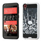 For HTC Desire 626 Brushed Metal HYBRID Rubber Case Phone Cover + Screen Guard
