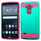 For At&t LG G Vista 2 Brushed Metal HYBRID Rubber Case Phone Cover +Screen Guard