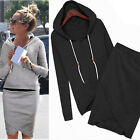 Women Hoodie+Skirt Sportswear Hooded Sweatshirt Plain Hoody Top Clothes Tops Set