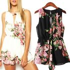 Women Summer Floral Print Sleeveless Backless Chiffon Jumpsuit Short Pant Reliab