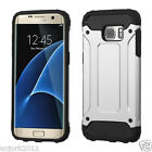 SILVER/BLACK HYBRID GEAR ARMOR HARD CASE+SKIN COVER FOR SAMSUNG GALAXY S7 EDGE