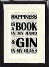 Art Print Antique Dictionary Page Quote Happiness is a Book and Gin in my Glass