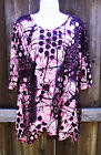 TIANELLO BLACK PINK MULTI COLOR COTTON BLEND ¾ SLEEVE CASUAL TUNIC TOP M XL NEW