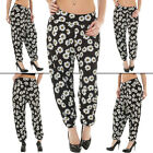 New Womens Elasticated Waist Daisy Print Ankle Cuff Harem Ali baba Trousers M L