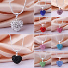 New Heart Rhinestone Pendants CZ Crystal Ball Bead Silver Plated Chain Necklaces