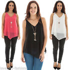 New Womens Sleeveless Butterfly Top With Pearl Necklace Size 8/10 12/14 16/18