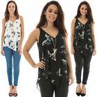 New Womens Butterfly Print V-Neck Sleeveless Top Size 8 10 12 14 16 18