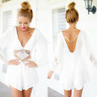 New Womens Elegent Sexy Mini Playsuit White Summer Shorts Beach Sun Dress UR