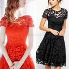 Summer Dress Women Short Sleeve Lace Floral Wedding Party Graduation Bridesmaid