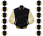Faux Leather Sleeve Letterman College Varsity Kid Wool Jacket #CRS-CLRS-BB-FL