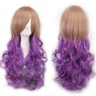 Pretty Blonde Mix Purple Layered Heat Resistant Ombre Women Lady Party Full Wig