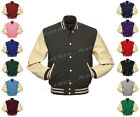 Faux Leather Sleeve Letterman College Varsity Kid Wool Jacket #CRS-CRS-CRB-FL