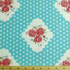 Polka Dots And Roses In Clouds Cotton Linen Upholstery Fabric