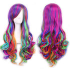 Rainbow Color Long Curly Heat Resistant Women Ladies Wavy Ombre Hair Full Wig