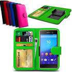 Clip On PU Leather Flip Wallet Book Case Cover For Sony Xperia M