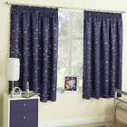 Moonlight Moon & Stars Navy Silver Thermal Blockout Childrens Kids Curtains Pair