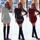 Fashion Women Ladies O-Neck Long Sleeve Slim Fit Bodycon Mini Dress Solid N4U8