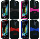 For LG K10 Rugged Arch Wave Stand Hybrid Cover Case Phone Protector