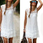 Sexy Women's Summer Casual Sleeveless Evening Party Beach Dress Mini Lace Dress