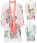Womens Plus Butterfly Print Gypsy Scarf Top Baggy Lace Crochet Short Sleeve New