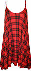 Womens Plus Tartan Swing Dress Print Flared Strappy Sleeveless Ladies New 16-26
