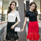 Elegant Women High Waisted Elastic Lace Bodycon Pencil Skirts OL Skirts