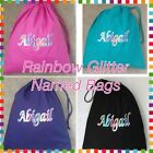 PERSONALISED GIRLS NAMED PE PUMP GYM SCHOOL DRAWSTRING COTTON BAG NEW RAINBOW