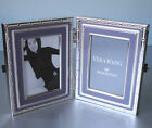 "Vera Wang Wedgwood WITH LOVE Folding Double Frame Lavender/Silverplate 2x3"" New"