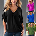 Women Summer Loose Zipper V Neck Blouse Shirt Casual Roll-Up Sleeve T-shirt Tops