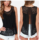 Fashion Women Lady Summer Casual Vest Sleeveless Blouse Tank Tops T-Shirt Lace