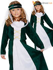 Girls Medieval Maiden Fancy Dress Costume Childs Tudor Maid Marion Book Week