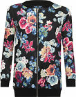 Womens Plus Floral Rose Print Bomber Jacket Ladies NewLong Sleeve Zip Coat 14-28