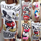 New Womens Printed Summer T-shirt Casual Party Evening Bodycon Pencil Mini Dress